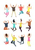 Happy jumping people. Excited man and woman in jump. Flying persons vector characters isolated royalty free illustration