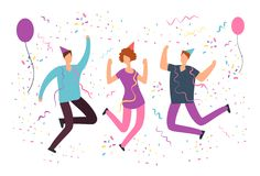 Happy jumping people with falling confetti, balloons at fun birthday party. Friends celebrating event. Vector flat vector illustration