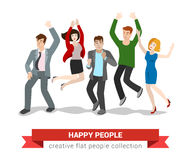 Happy jumping people friends group in vector flat Royalty Free Stock Images