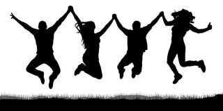 Happy jumping, people friends, holding hands silhouette. Happy jumping, people friends, holding hands silhouette Royalty Free Stock Photo