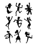 Happy jumping people vector set. Stock Photography