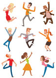 Happy jumping people vector set. Royalty Free Stock Photo
