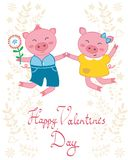 Happy jumping pigs couple. Valentine`s day card with happy jumping pigs couple Stock Photography