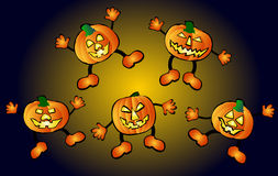 Happy, jumping pumpkins Royalty Free Stock Image