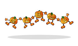 Happy, jumping pumpkins Stock Image
