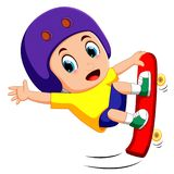 Happy Jumping skateboarder Royalty Free Stock Images