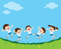 Happy jumping student. Cute student boy and girl jumping be happy various actions on greensward. Little kids smiling and jumping together over grass royalty free illustration