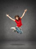 Happy jumping teenage girl Royalty Free Stock Images