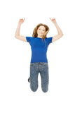 Happy jumping teenager. royalty free stock images