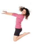 Happy jumping woman Stock Photo