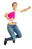 happy jumping woman Стоковая Фотография RF