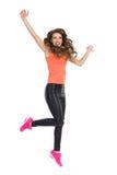happy jumping woman Стоковое Изображение