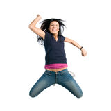 Happy jumping young woman Royalty Free Stock Images