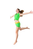 Happy jumping young woman Royalty Free Stock Photos