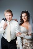 Happy just married bride and groom Stock Photos