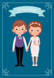 Happy just married bride and groom. Stock cartoon vector illustration Royalty Free Stock Image