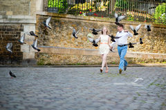 Happy just married couple jumping Royalty Free Stock Photo