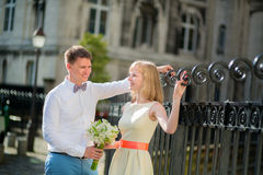 Happy just married couple on Montmarte Royalty Free Stock Images