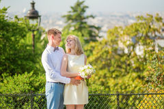 Happy just married couple on Montmarte Stock Images