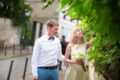 Happy just married couple on Montmarte Stock Photos