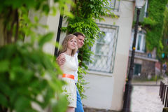 Happy just married couple on Montmarte Stock Photography