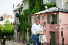Happy just married couple on Montmarte Stock Photo