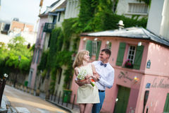 Happy just married couple on Montmarte Royalty Free Stock Image