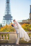 Happy just married couple in Paris Stock Images
