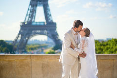 Happy just married couple in Paris Stock Photo