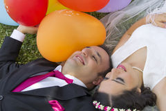 Happy just married couple Royalty Free Stock Photography