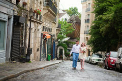 Happy just married couple walking on Montmarte Royalty Free Stock Photo