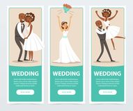 Happy just married couples, wedding banners set flat vector elements for website or mobile app Stock Photos