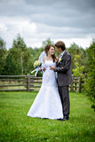 Just Married outdoors Stock Photography