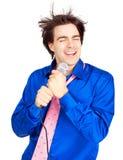 Happy karaoke signer Stock Photography