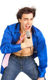 Happy karaoke signer Royalty Free Stock Photos
