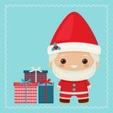 Happy kawaii inspired Santa Claus with gift boxes Stock Image