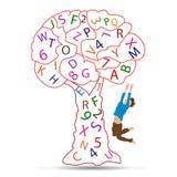 Happy kid with alphabet tree Stock Photo