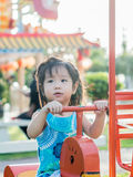 Happy kid, asian baby child. Playing on playground Stock Photos