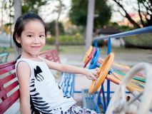 Happy kid, asian baby child playing on playground royalty free stock photo
