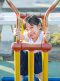 Happy kid, asian baby child in school uniform playing Royalty Free Stock Image