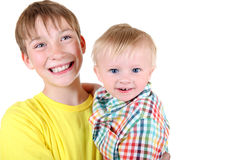 Happy Kid and Baby Boy Royalty Free Stock Image