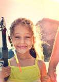 Happy kid backlit Royalty Free Stock Photography