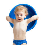 Happy kid with blue plastic bowl Royalty Free Stock Photo
