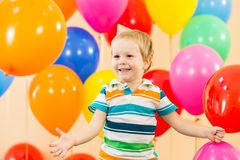 Happy kid boy on birthday party. Joyful kid boy on birthday party Stock Photo
