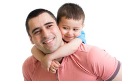Happy kid boy embracing his father. Isolated Stock Images
