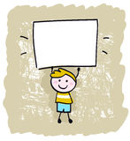Happy kid boy holding blank banner sign. Cute happy boy in retro style holding blank banner sign - vector illustration Royalty Free Stock Photo
