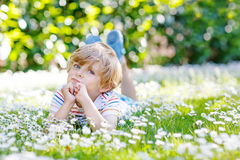 Happy kid boy laying on green grass in summer. Happy little blond child with blue eyes laying on the grass with daisies flowers in the park. On warm summer day Royalty Free Stock Photography