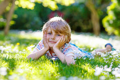 Happy kid boy laying on green grass in summer. Happy little blond child with blue eyes laying on the grass with daisies flowers in the park. On warm summer day Stock Image