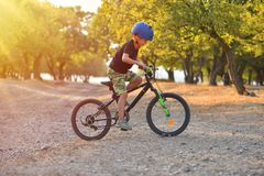 Free Happy Kid Boy Of 7 Years Having Fun In Autumn Park With A Bicycle On Beautiful Fall Day. Active Child Wearing Bike Helmet Stock Images - 159835074