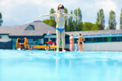 Free Happy Kid Boy Ready To Jump In Pool Stock Image - 41736191